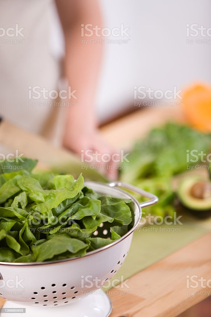 Chopped green leaves ready to be used in a salad royalty-free stock photo