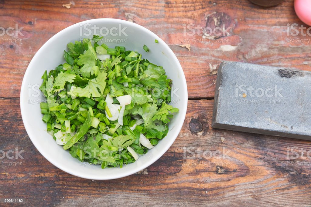 chopped green onion and coriander ingredient for cooking, Thai cuisine royalty-free stock photo