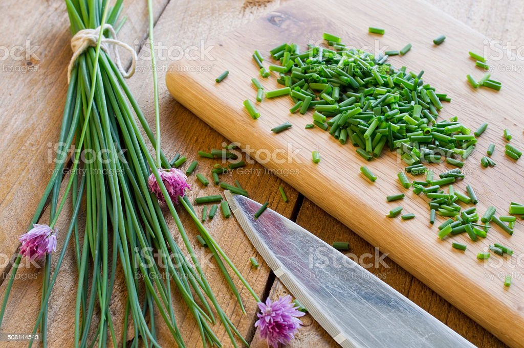 Chopped Herbs - Chives stock photo
