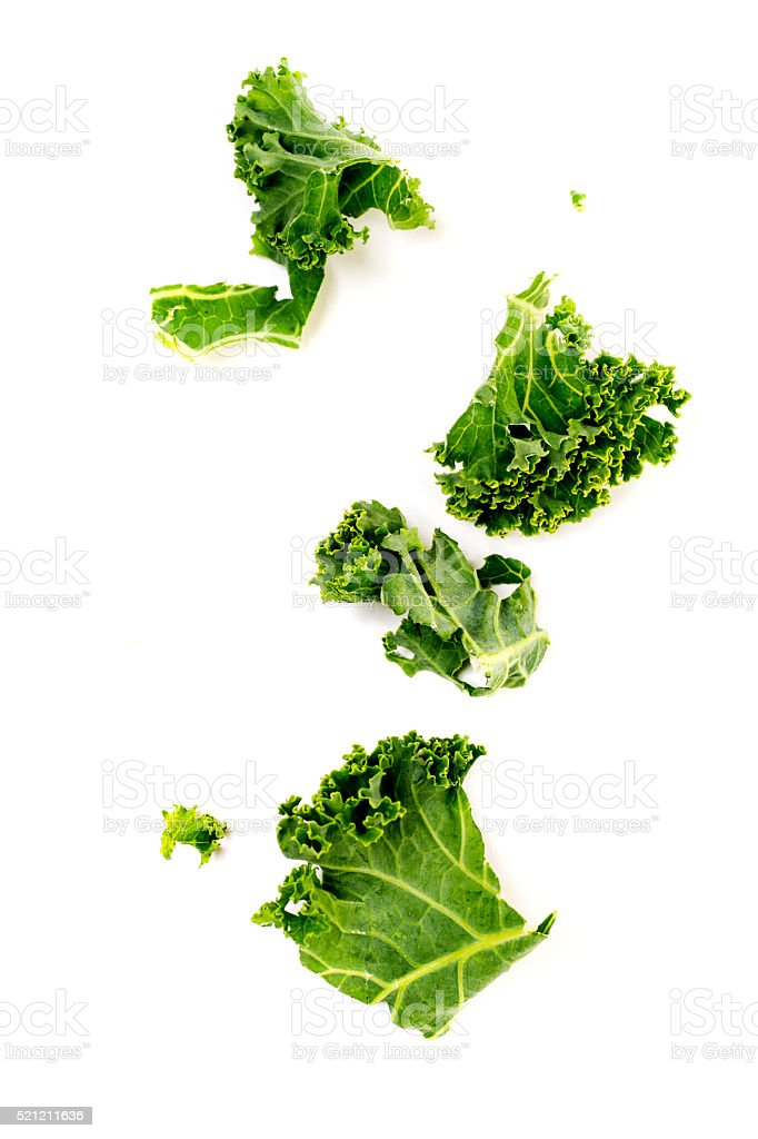 Chopped Kale Isolated on White stock photo