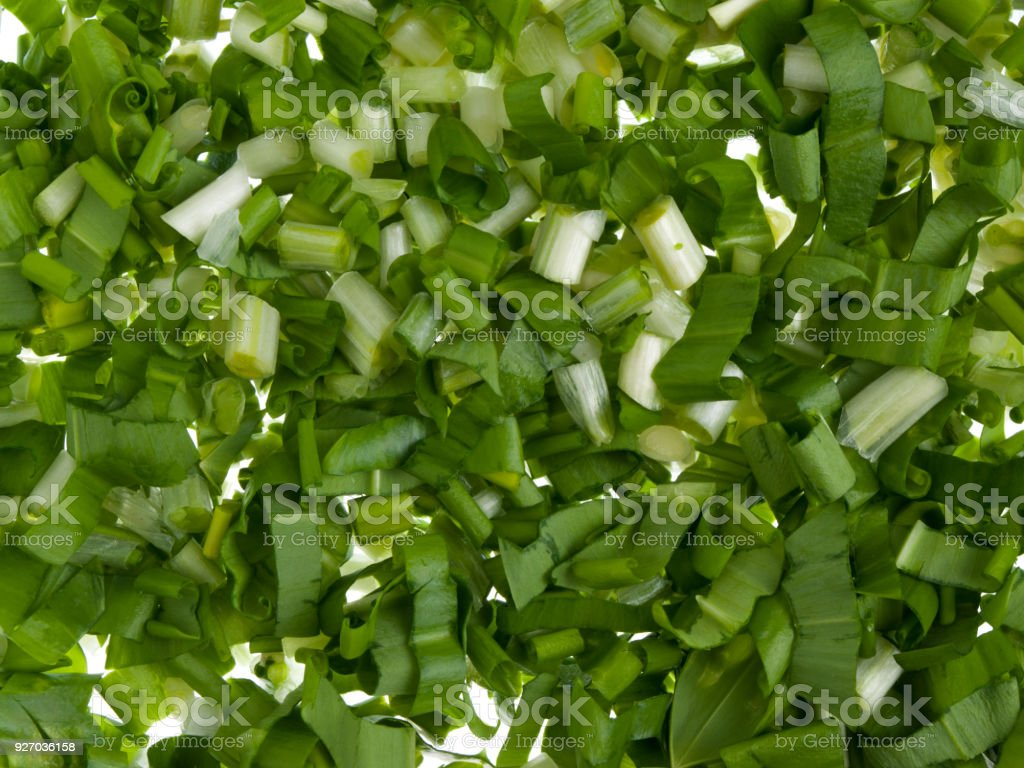 Chopped leaves of ramson stock photo