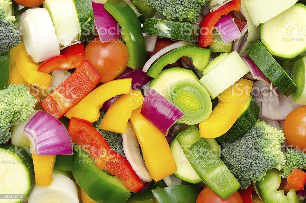 Chopped mixed raw vegetable background stock photo