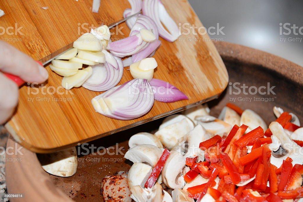 chopped onions on rustic. top view royaltyfri bildbanksbilder