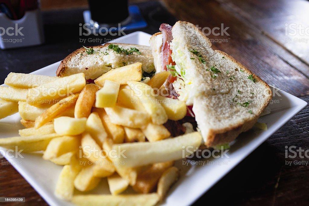 Chopped Parsley on Irish BLT Sandwich stock photo