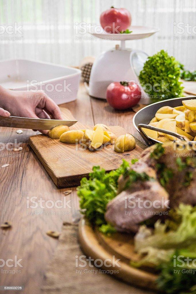 chopped potatoe stock photo