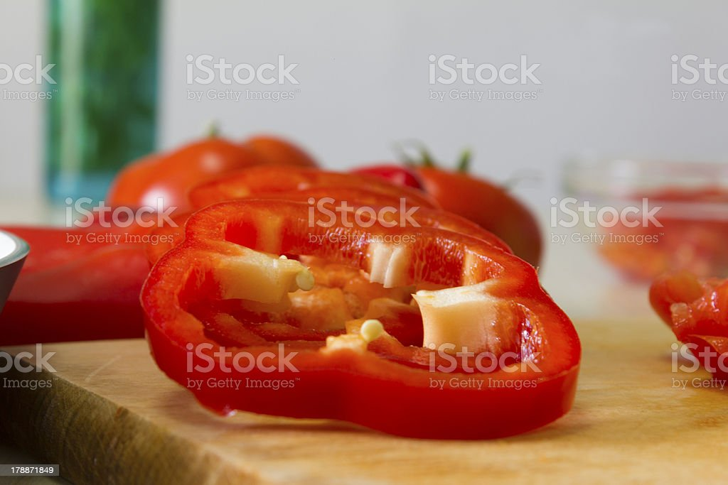 Chopped Red Bell Pepper royalty-free stock photo