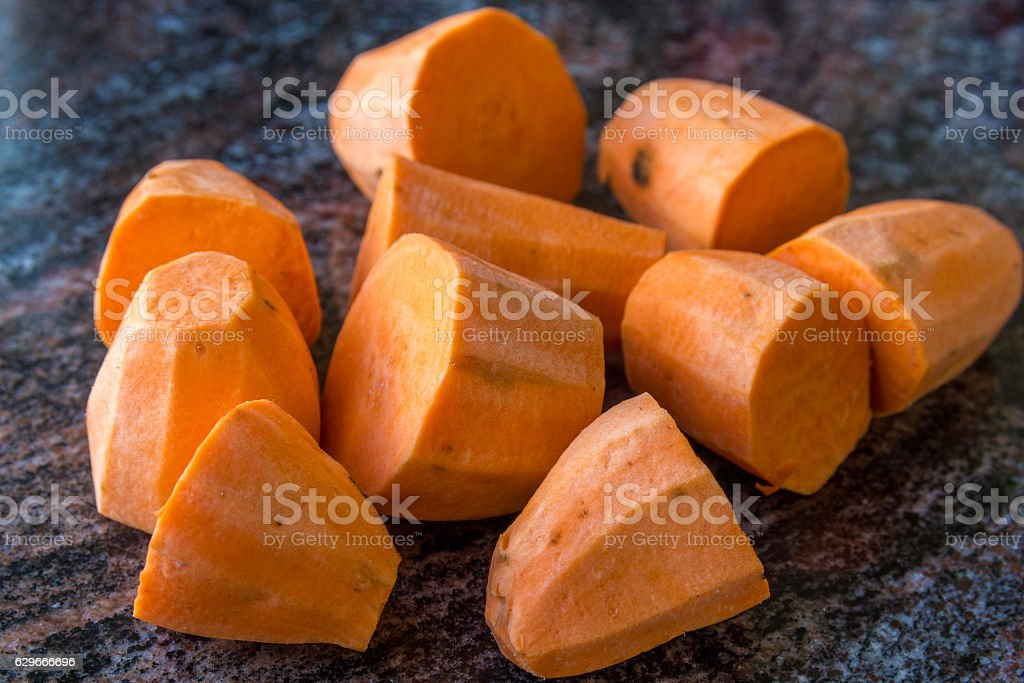 chopped sweet potato ready for cooking stock photo