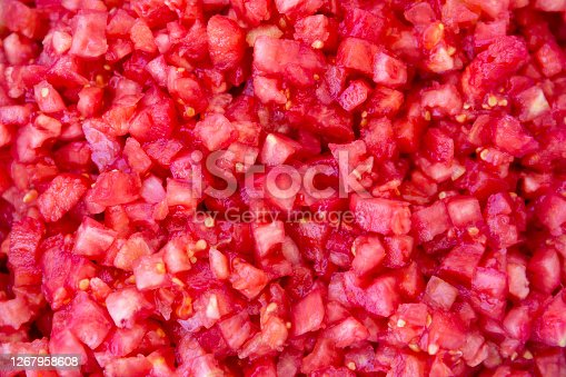 chopped tomatoes for  homemade canned  tomato sauce