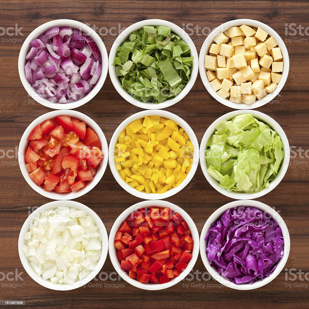 Chopped vegetables stock photo
