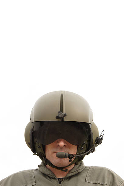 Chopper Pilot A helicopter pilot fully dressed. flight suit stock pictures, royalty-free photos & images