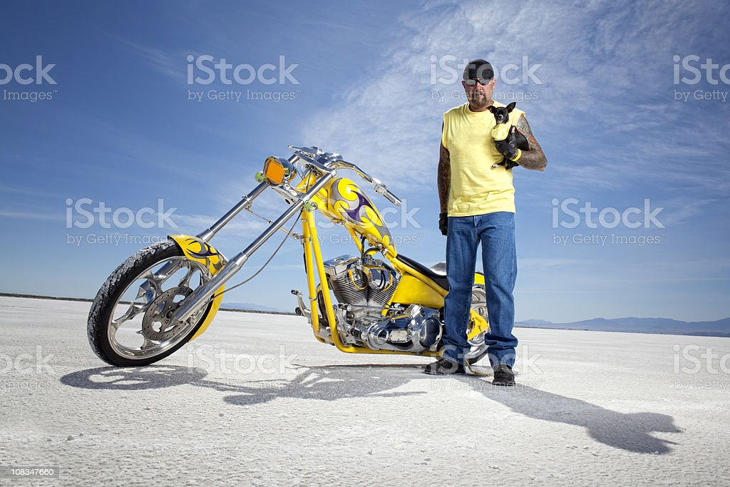Chopper Rider and his Big Dog stock photo