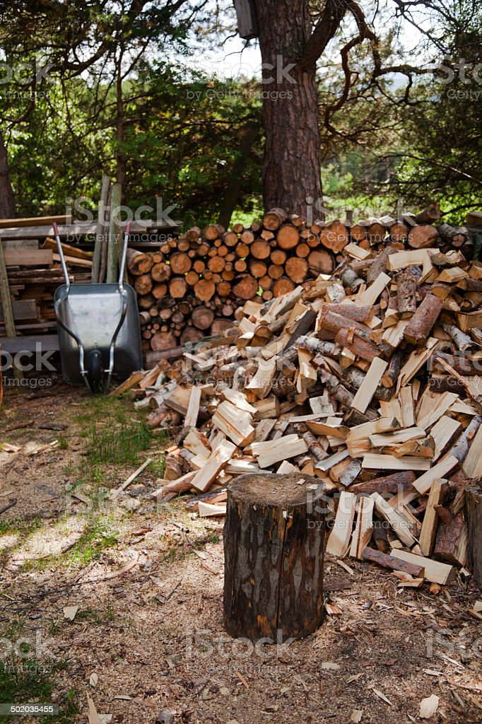 Chopping block and logs royalty-free stock photo