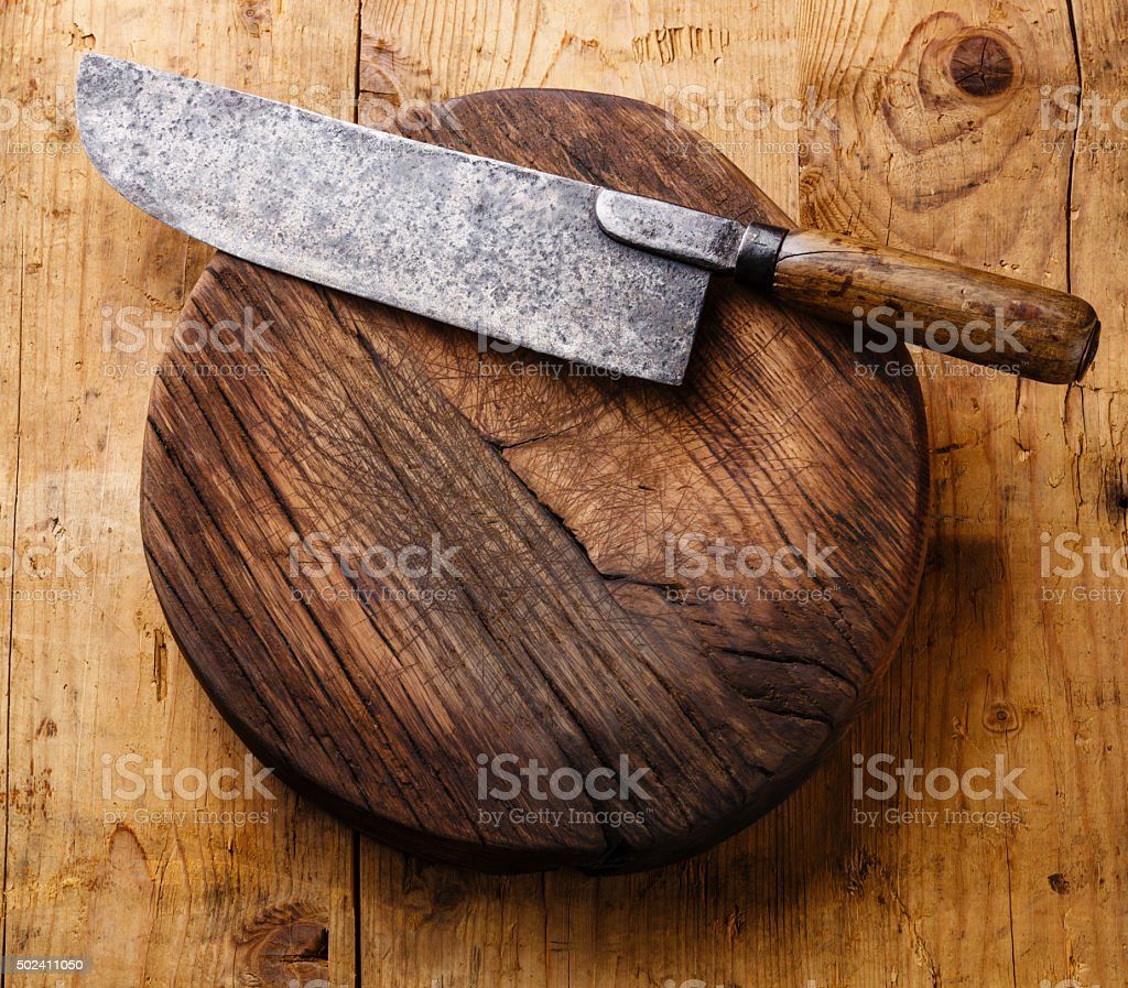 Chopping block and Meat cleaver stock photo