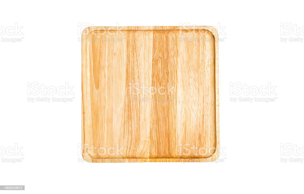 chopping block on top view isolated stock photo