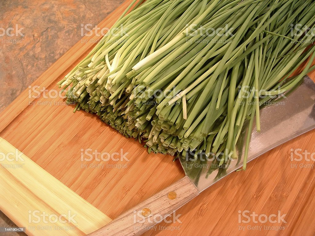 Chopping Chives stock photo