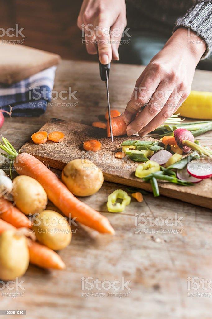 Chopping food ingredients stock photo