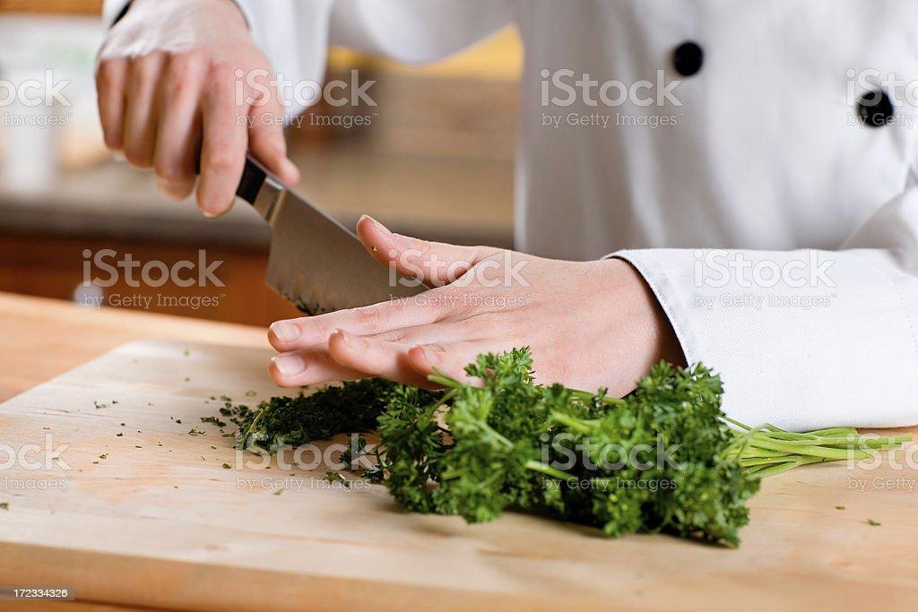 Chopping Herbs royalty-free stock photo