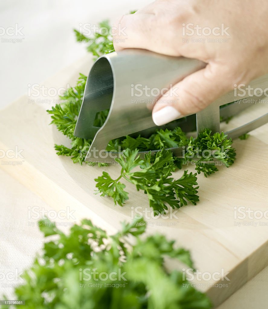 chopping parsley royalty-free stock photo