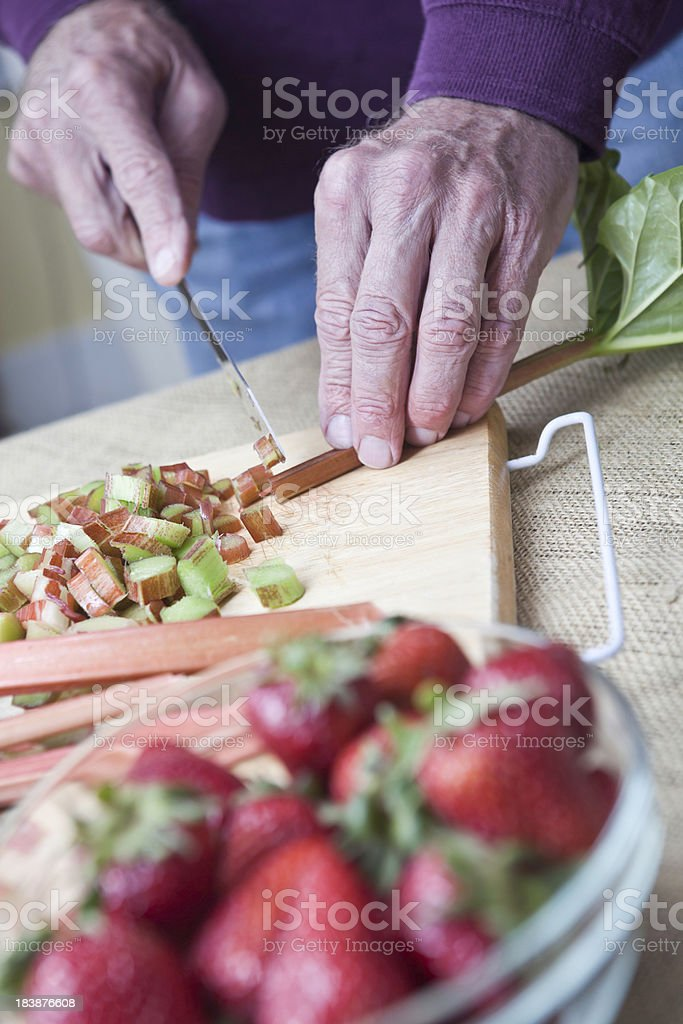 Chopping Rhubarb royalty-free stock photo