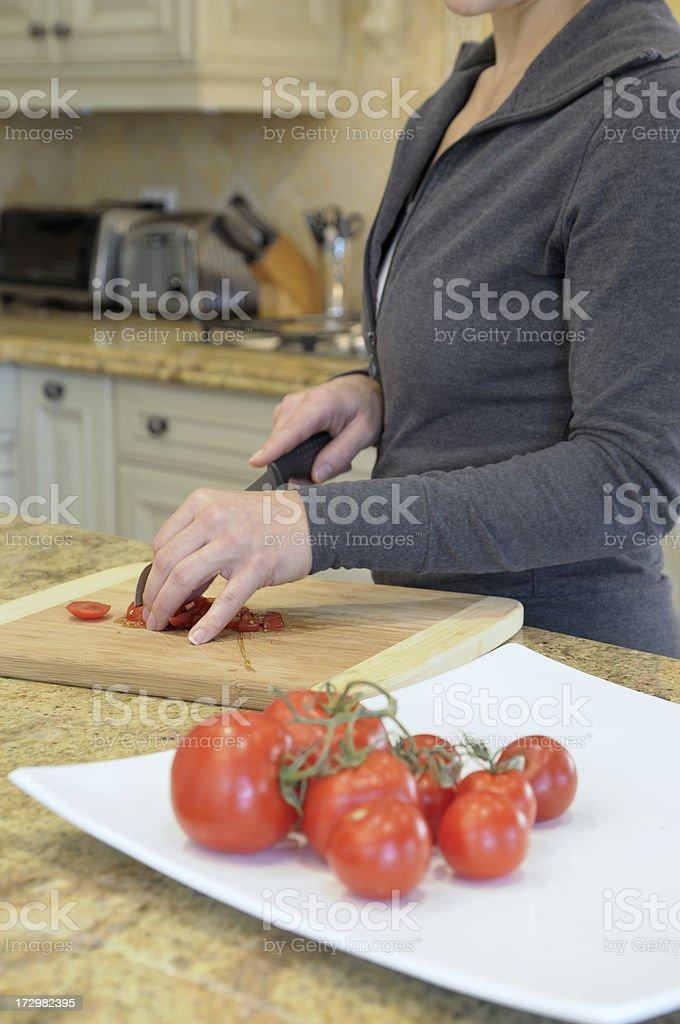 chopping tomato royalty-free stock photo