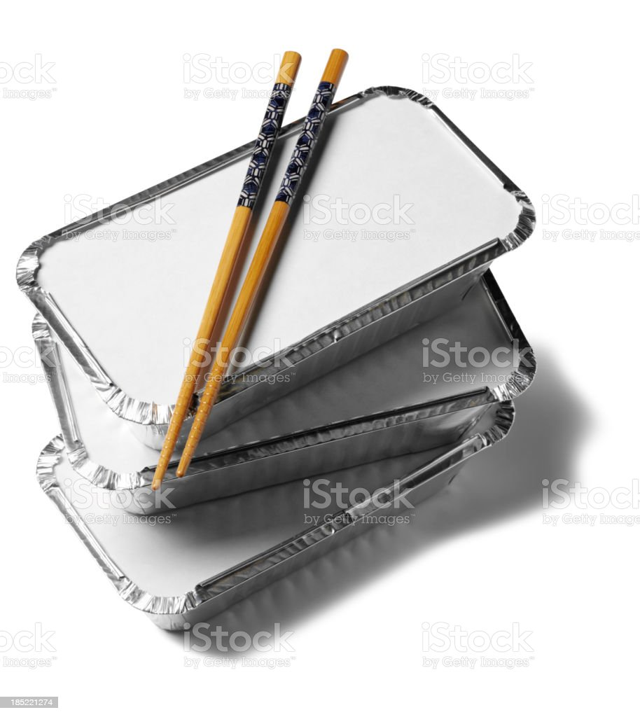 Chopsticks on Takeaway Packaging stock photo