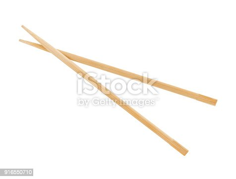 Pair of wooden chopsticks isolated on white (excluding the shadow)