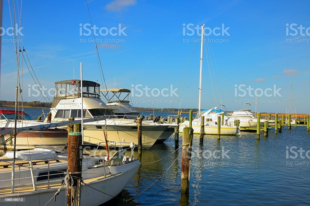 Choptank Marina Pleasure Boats In Fall stock photo