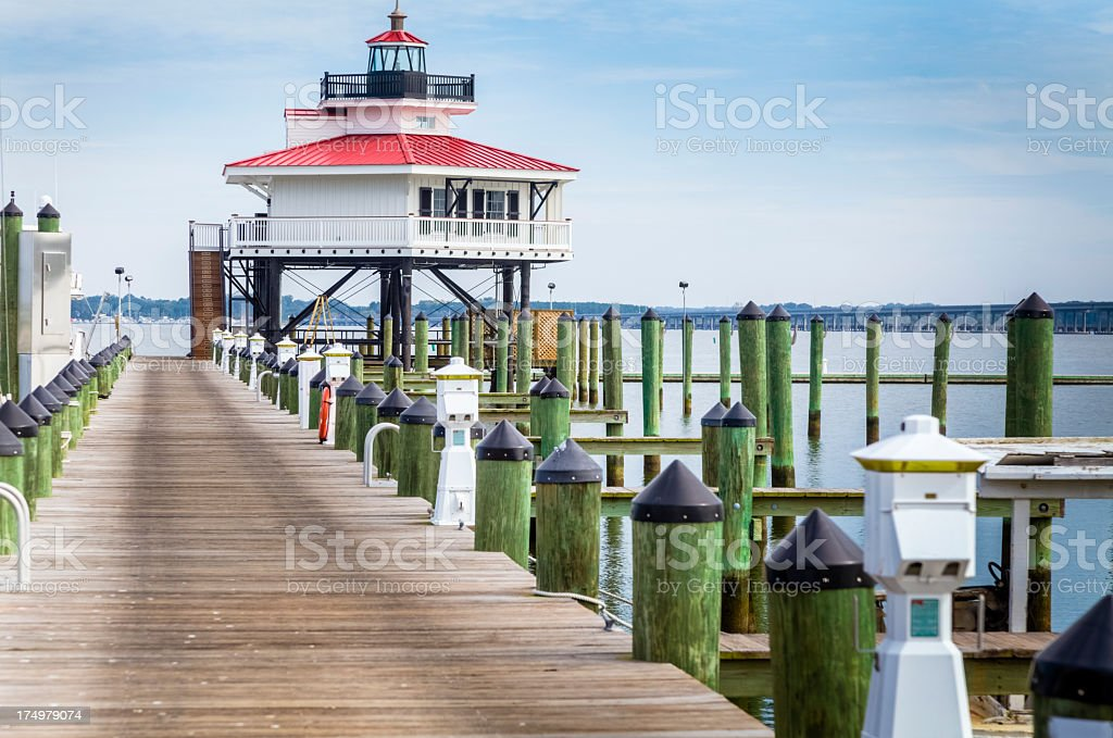 Choptank River Lighthouse at the end of the Pier stock photo