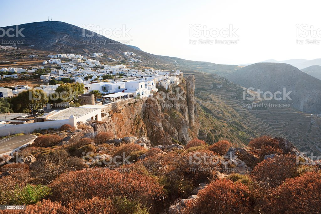 Chora on the island of Folegandros, Greece stock photo