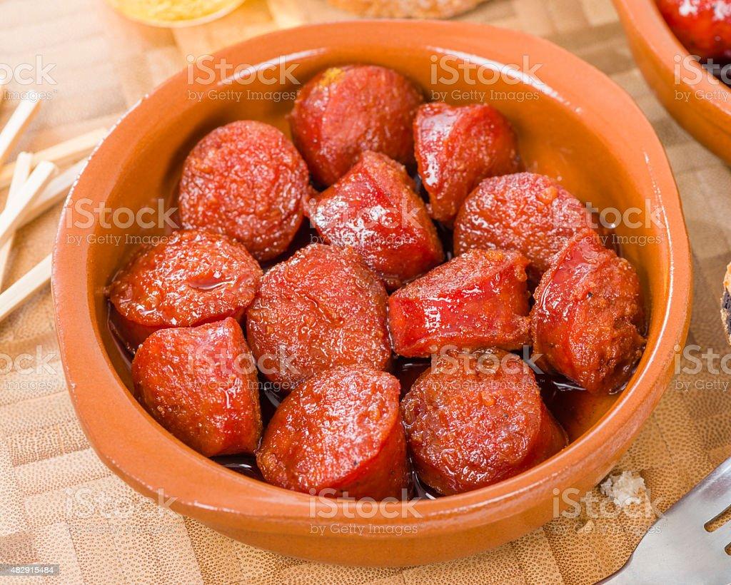 Chorizo a la Sidra stock photo