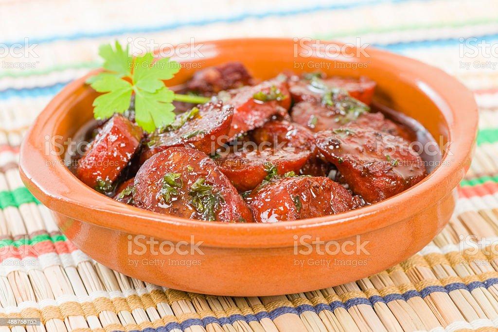 Chorizo al Vino stock photo