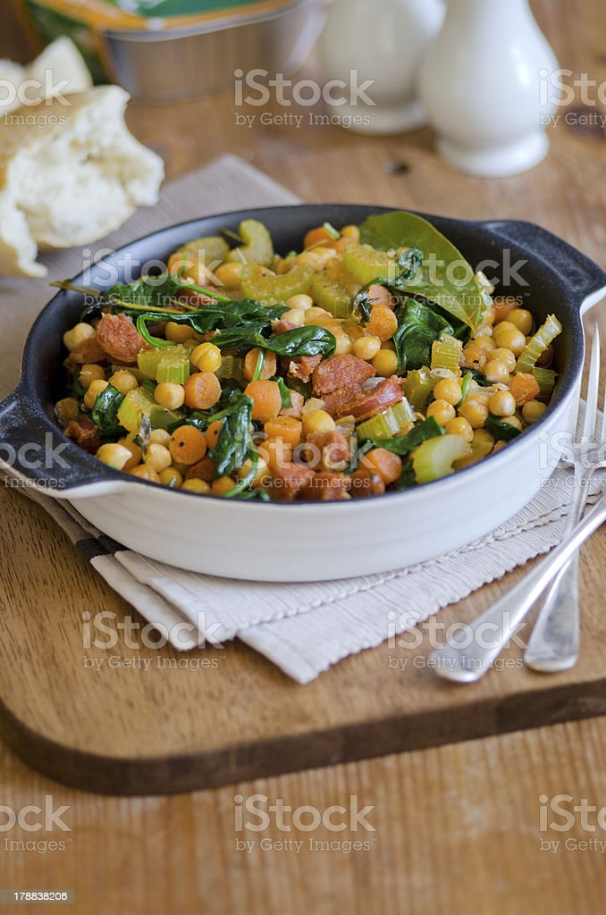 Chorizo and chickpea stew royalty-free stock photo