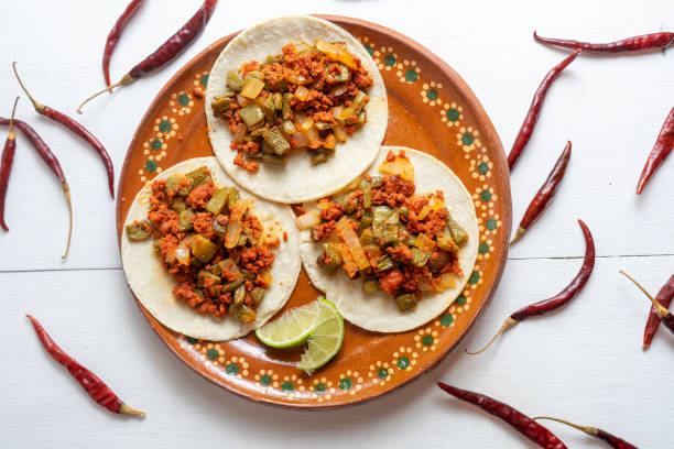Chorizo and nopales tacos stock photo