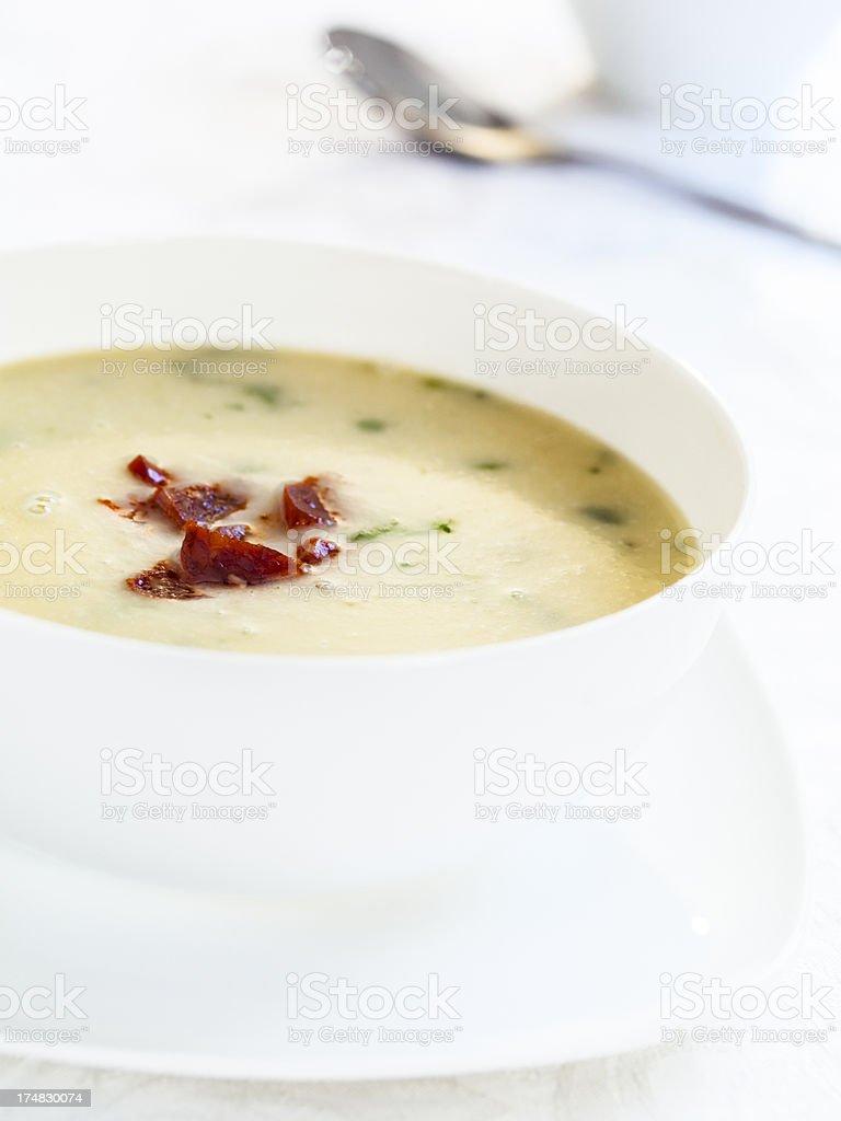 chorizo, fennel & potato soup royalty-free stock photo