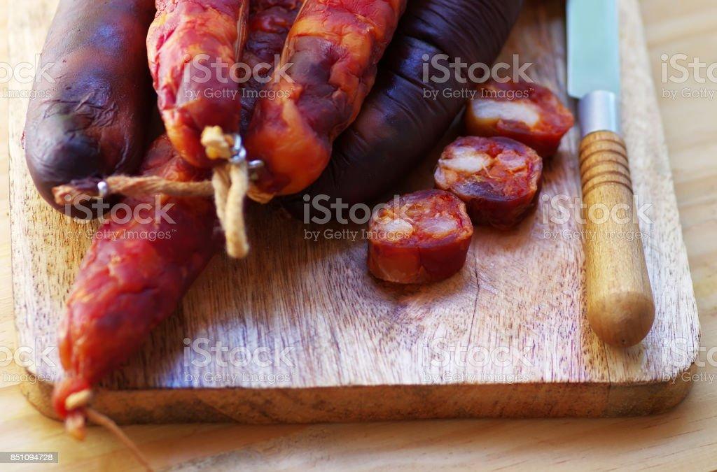 Chorizo Meat  on table stock photo