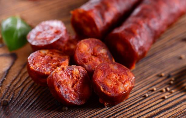 chorizo sausage - wurst stock-fotos und bilder