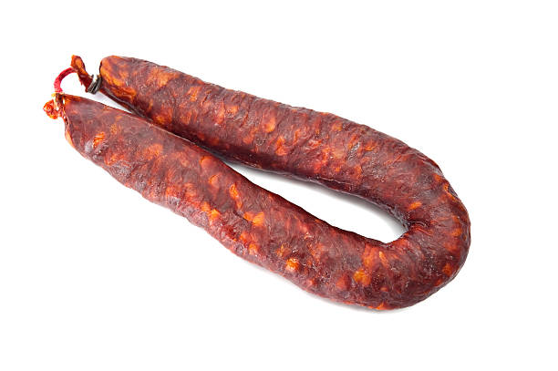 chorizo sausage - chorizo wurst stock-fotos und bilder