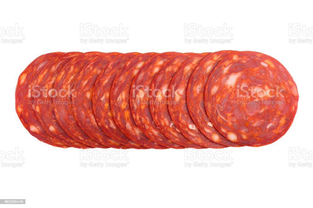 chorizo sausages slices isolated on white stock photo