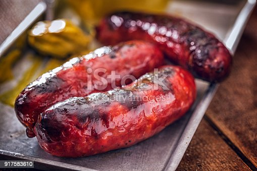 Spicy Chorizo Sausages with mustard