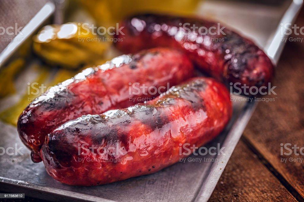 Chorizo Sausages with Mustard stock photo