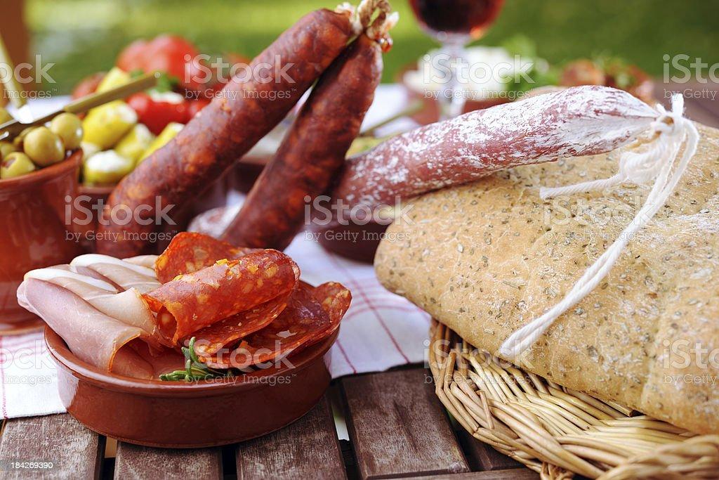 Chorizo with tapas royalty-free stock photo
