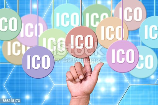 Finger pointing into chosing ico - initial coin offering