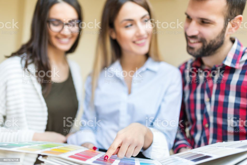 Chosing the color for new apartment stock photo