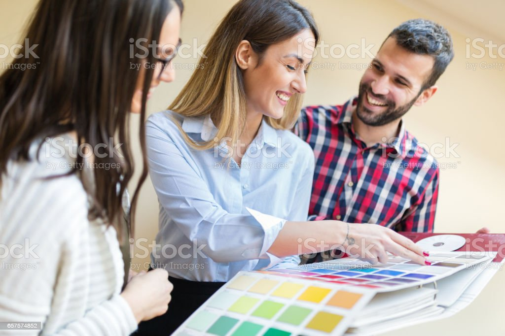 Chosing the right color for new apartment stock photo