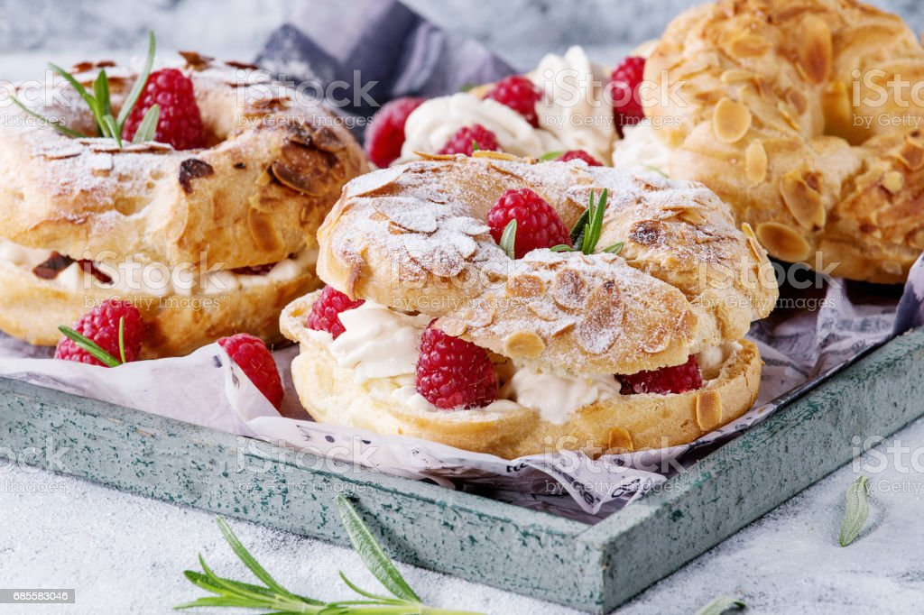 Choux cake Paris Brest with raspberries 免版稅 stock photo