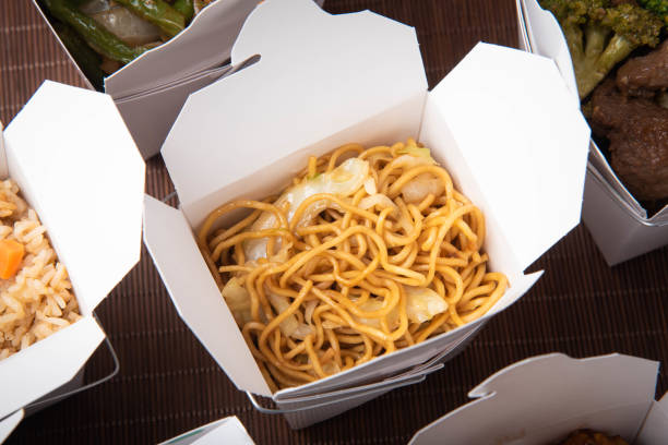 chow mein in traditional american chinese container stock photo