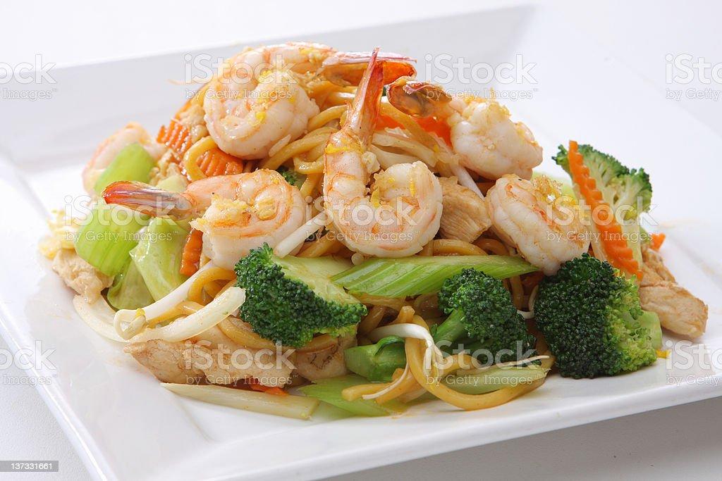 Chow Mein Shrimp royalty-free stock photo