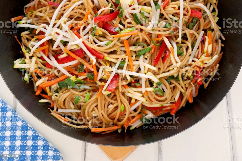 Chow mein in wok stock photo