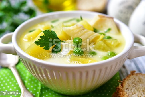 istock Chowder with potato,cod and green pea. 507218034