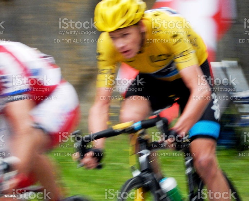 Chris Froome Races Downhill at the Tour de France stock photo
